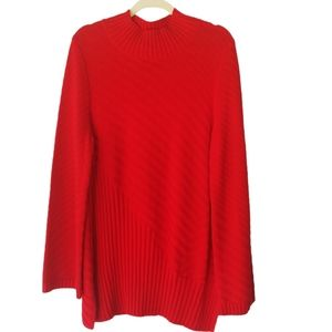 Charter Club Mixed-Stitch Mock-Neck Sweater Red